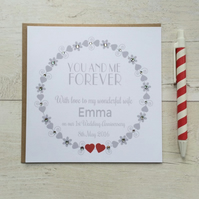 Personalised You and Me Forever Wedding Anniversary Card  (LB023)