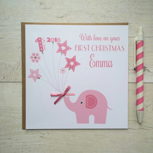 Personalised  Baby's First Christmas Card  with elephant in pink (LB030)