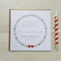 Personalised Love, Luck and Happiness Wedding Day Card (LB024)