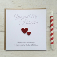Personalised Wedding Anniversary Card - Husband or Wife (LB005)