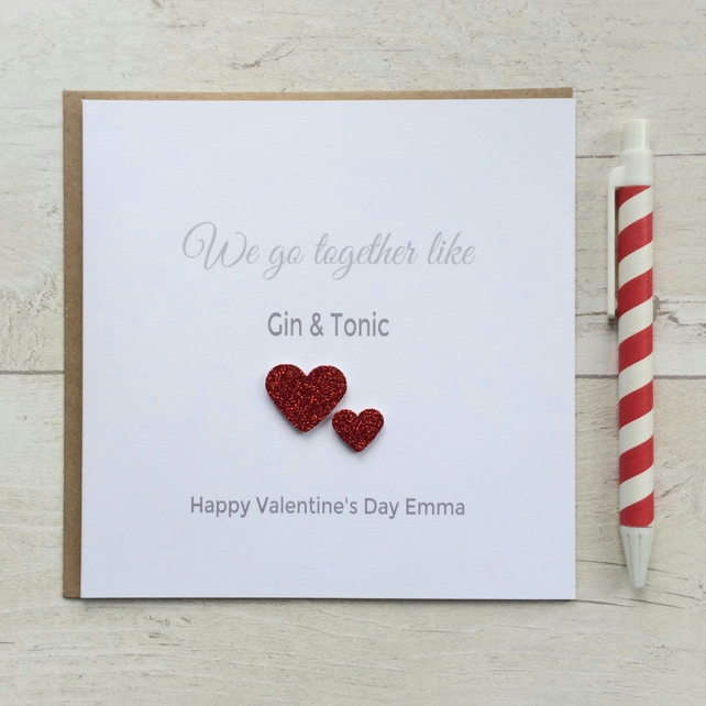 Personalised Anniversary or Valentines Card - Gin & Tonic (LB003)