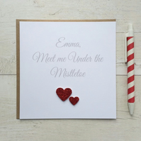 Personalised Christmas Card - Meet me under the Mistletoe (LB009)