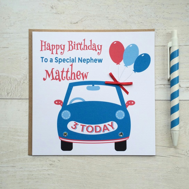 Personalised Red White and Blue Car Birthday Card (LB071)