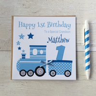 Personalised Blue Train Birthday Card (LB072)
