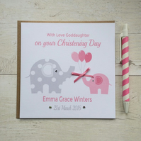 Personalised Pink Elephant Christening, Baptism or Naming Day Card  (LB090)