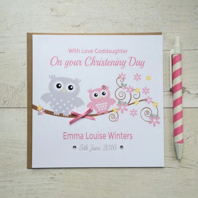 Personalised Pink Owl Christening, Baptism or Naming Day Card (LB102)