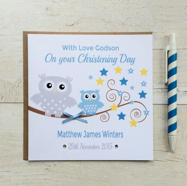 Personalised Blue Owl Christening, Baptism or Naming Day Card (LB102)