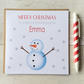Personalised Snowman Christmas Card (LB077)