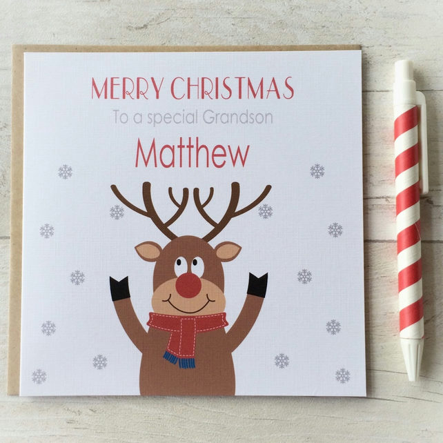 Personalised Reindeer Christmas Card (LB078)