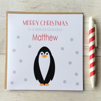 Personalised Penguin Christmas Card (LB079)