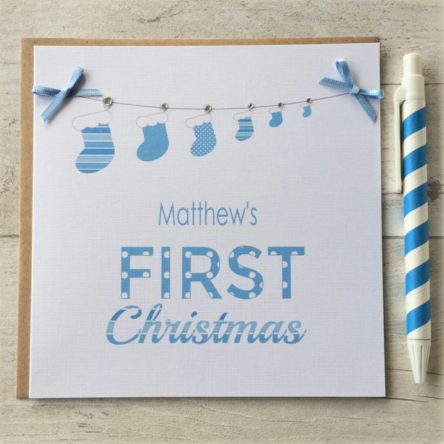 Personalised Baby's First Christmas - Christmas Card in Blue (LB043)