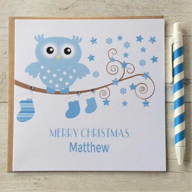 Personalised Owl Christmas Card in Blue (LB044)
