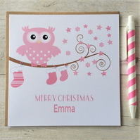 Personalised Owl Christmas Card in Pink (LB029)