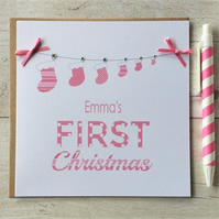 Personalised Baby's First Christmas - Christmas Card in Pink (LB028)