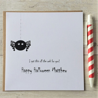 Personalised Spider Halloween Card  (LB092)