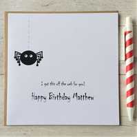 Personalised Spider Birthday Card - Dad Mum Son Daughter (LB091)
