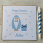 Personalised Blue Penguin Christmas Card (LB087)
