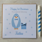 Personalised Blue Penguin 1st First Christmas Card (LB088)