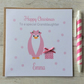 Personalised Pink Penguin Christmas Card (LB087)