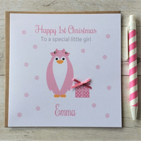 Personalised Pink Penguin 1st First Christmas Card (LB088)