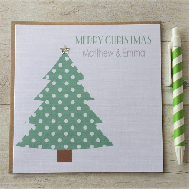 Personalised Christmas Card featuring spotty Christmas Tree  (LB085)