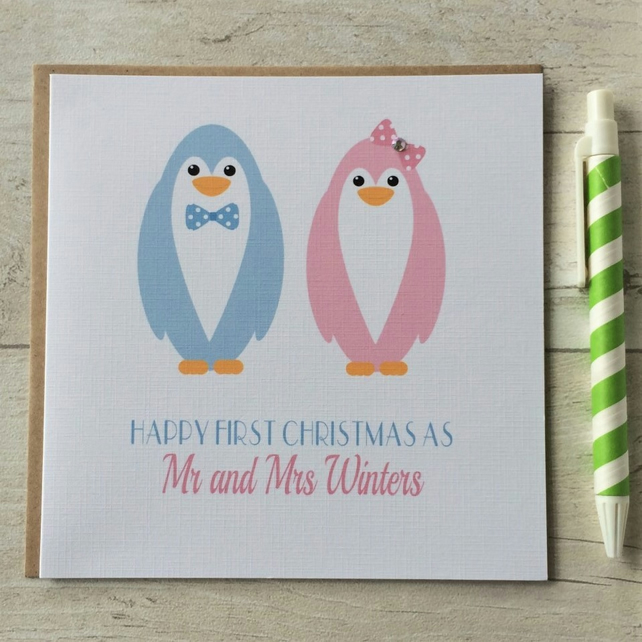 Personalised Penguin First Christmas as Husband Wife Mr & Mrs Card (LB086)