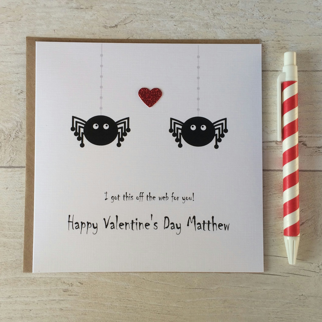 Personalised Spider Valentine's Day Card (LB123)