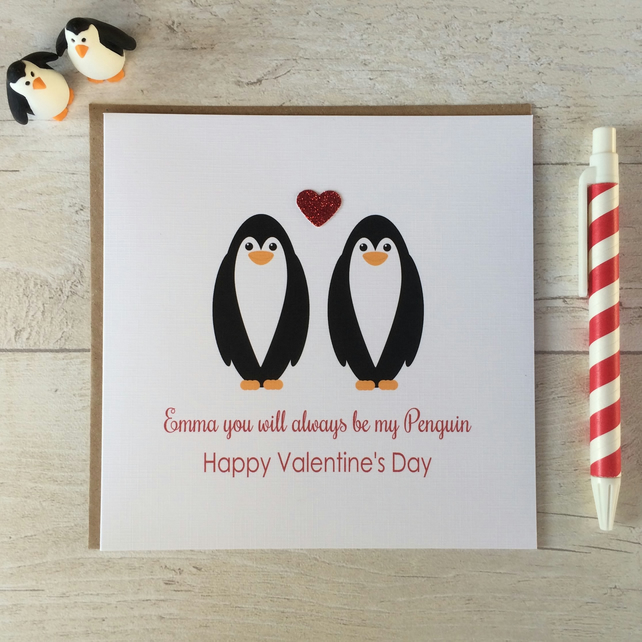 Personalised You will always be my Penguin Valentine's Day Card (LB125)
