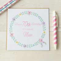 Personalised Floral Birthday Card (LB153)
