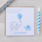 Personalised Elephant Fathers Father's Day Card Pink or Blue (LB151)