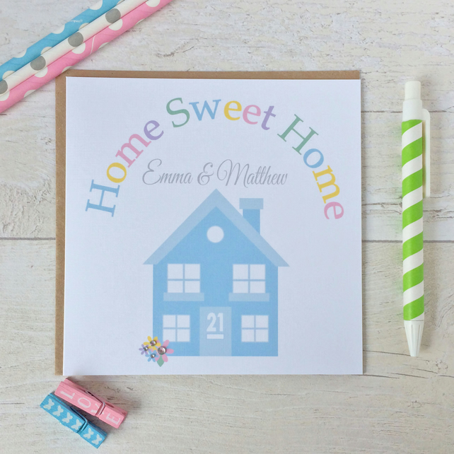 Handmade Personalised Home Sweet Home New Home Card (LB156)