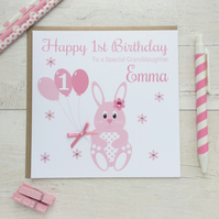 Personalised Bunny Rabbit Birthday Card (LB161)