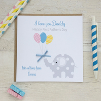Personalised Elephant First Father's Day Card (LB157)