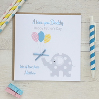 Personalised Elephant  Father's Day Card (LB158)