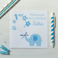 Personalised  Baby's First Christmas Card  with elephant in blue (LB045)