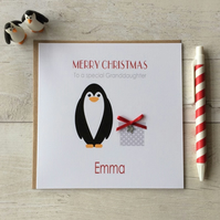 Personalised Christmas Card with Penguin and present (LB111)