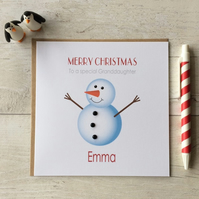 Personalised Christmas Card with Snowman (LB112)