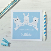 Personalised Baby's First Christmas Card  featuring Winter Animals (LB169)