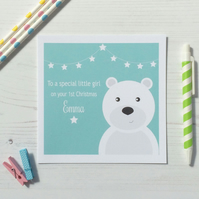 Personalised Baby's First Christmas Card with bear Choice of Colours (LB170)