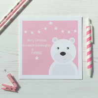 Personalised Christmas Card with Bear in Pink Blue or Green (LB171)