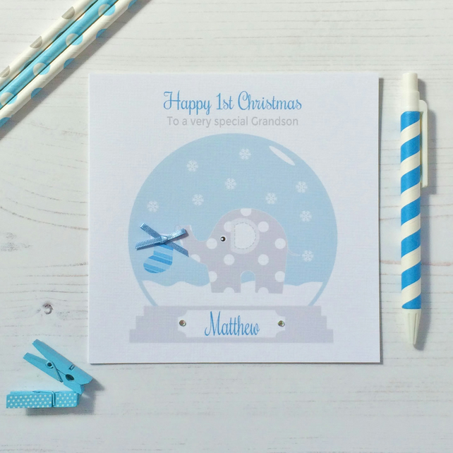 Personalised Elephant Baby's 1st First Christmas Card in blue (LB180)