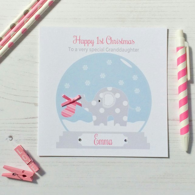 Personalised Elephant Baby's 1st First Christmas Card in pink (LB180)
