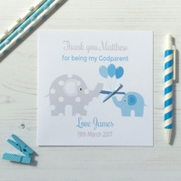 Personalised Elephant Thank you for being my Godparents Card PINK OR BLUE (5556)