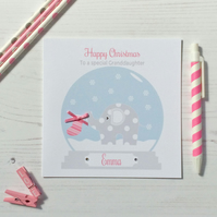 Personalised Christmas Card with Elephant in Snow globe in pink (LB182)
