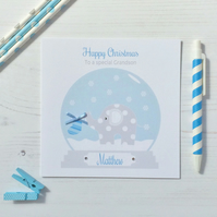 Personalised Christmas Card with Elephant in a Snow Globe in blue (LB182)