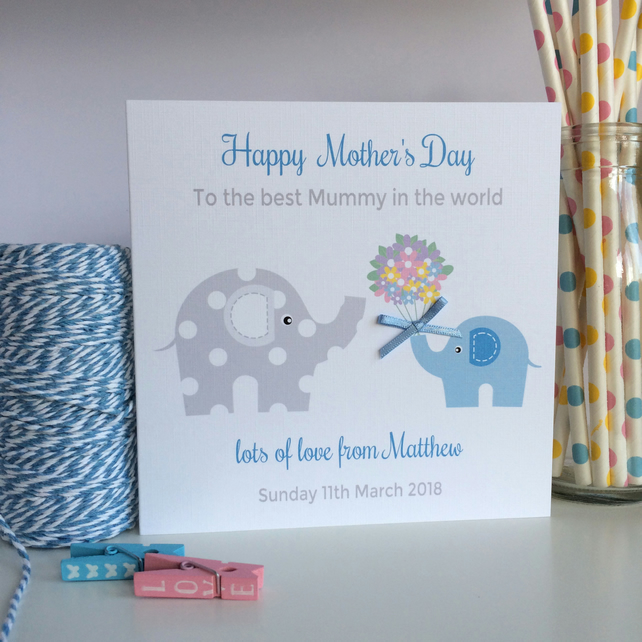 Personalised Mother's Day Card with Elephants (LB130)