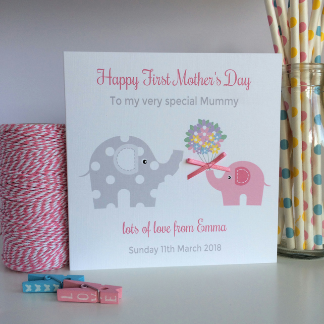 Personalised First 1st Mother's Day Card with Elephants (LB131)