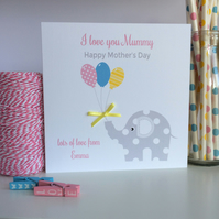 Personalised Elephant Mother's Day Card (LB240)