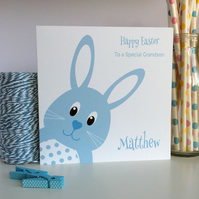 Personalised Easter Bunny card in Pink or Blue (LB242)