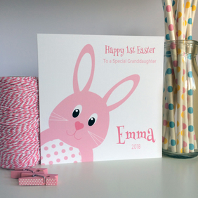 Personalised 1st First Easter Card with the Easter Bunny in Pink or Blue (LB243)